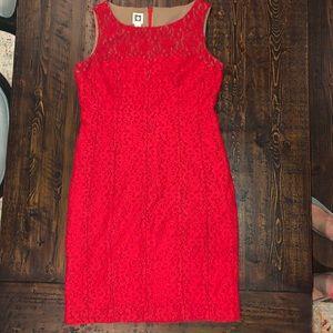 Red Anne Klein Lace Dress